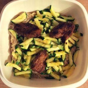 Erdnusssauce, Erdnußsauce, Reisnudeln, Thainudeln, Zucchini