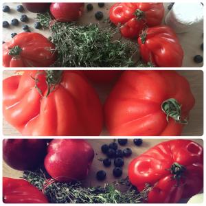 Wochenmarkt, Tomate, Ochsenherztomate, Thymian, Ziegenfrischkäse, Frischkäse, Heidelbeere, Nektarine, gegrillte Nektarine